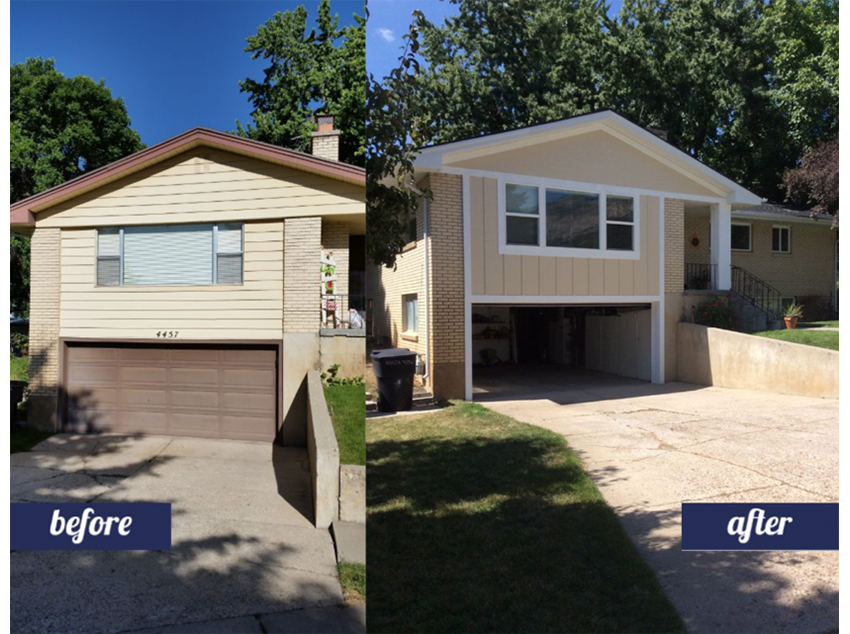 Home remodeling exterior, before and after